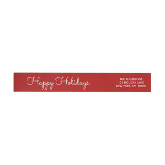 Elegant Red Happy Holidays Script Lettered Wrap Wrap Around Label