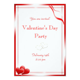 Elegant Red hearts Valentine's Day Party Card