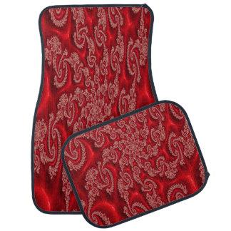 Elegant Red Lace Design Set of 4 Car Mats