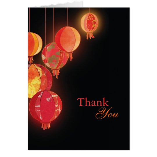 Elegant Red Lanterns Wedding Thank You Card