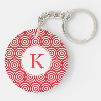 Elegant Red Letter K Customizable Monogram Double-Sided Round Acrylic Keychain