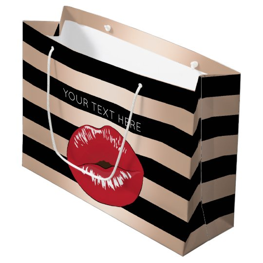 elegant red lips rose gold black stripes pattern