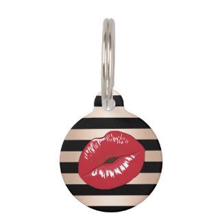 elegant red lips rose gold black stripes pattern pet name tag