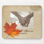 Elegant Red Maple Leaves Fall Wedding Mousemat