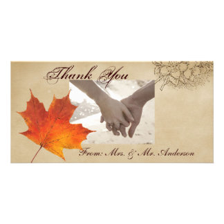 Elegant Red Maple Leaves Fall Wedding Photo Greeting Card