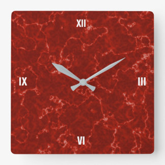 Elegant Red Marble with White Veins Clock