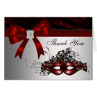 Elegant Red Masquerade Party Thank You Cards