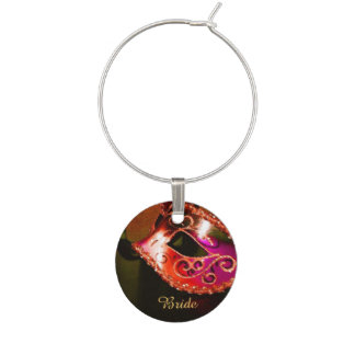 Elegant Red Masquerade Wedding Wine Charm