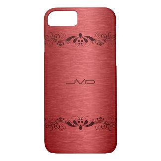 Elegant Red Metallic Texture Dark Red Lace Accent iPhone 7 Case