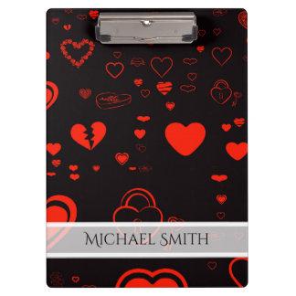 Elegant Red Modern Heart Pattern Clipboard