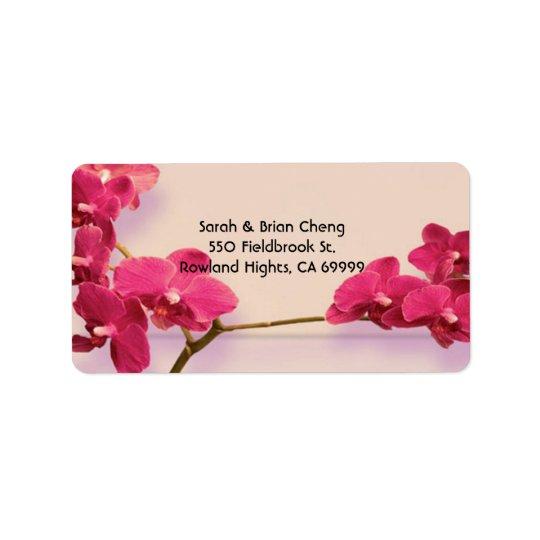 Elegant Red Orchids Wedding Address Label