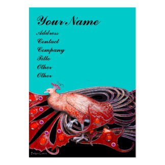 ELEGANT RED PEACOCK FASHION JEWEL IN BLUE BLACK PACK OF CHUBBY BUSINESS CARDS