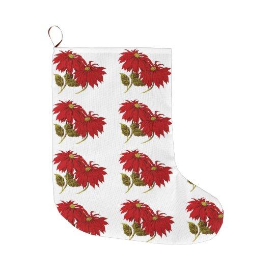 Elegant Red Poinsettia Pattern Christmas Holiday Large Christmas Stocking