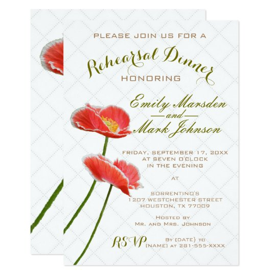 Elegant Red Poppies Floral Rehearsal Dinner Card