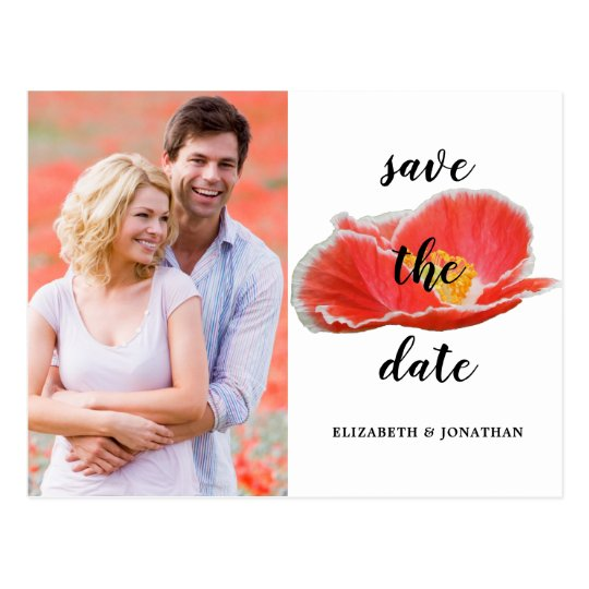Elegant Red Poppies Floral Save The Date Photo Postcard