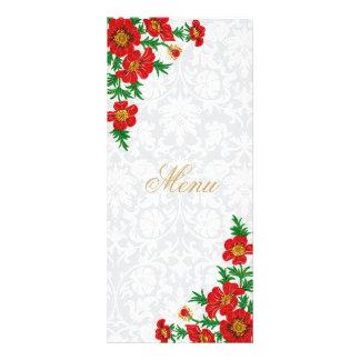 Elegant Red Poppy Flower Menu Personalized Rack Card