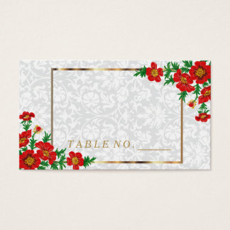 Elegant Red Poppy Flowers Place Cards