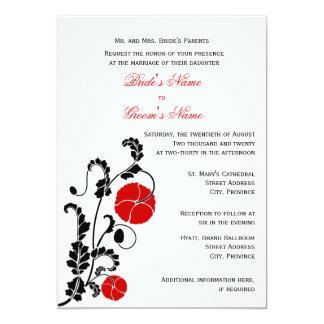 Elegant Red Poppy Wedding Invitation