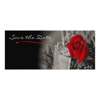Elegant Red Rose Black and White Save the Date 10 Cm X 24 Cm Invitation Card