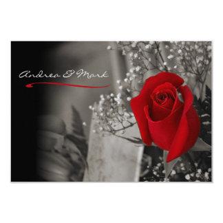 Elegant Red Rose Black and White Wedding 9 Cm X 13 Cm Invitation Card