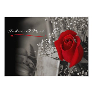 Elegant Red Rose Black and White Wedding Card
