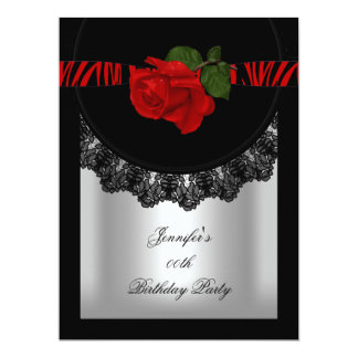 "Elegant Red Rose Black Zebra Lace Silver 6.5"" X 8.75"" Invitation Card"