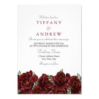 Elegant Red Rose Leaf Modern Wedding Invite