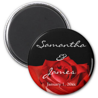 Elegant Red Rose on Black Personalized Wedding Magnet