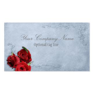 Elegant Red Rose on Blue Vintage Antique Pack Of Standard Business Cards