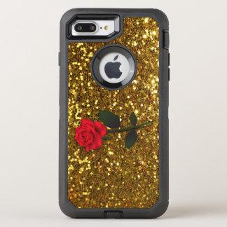 Elegant Red Rose on Gold Glitter OtterBox Defender iPhone 8 Plus/7 Plus Case