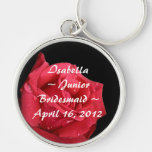 Elegant Red Rose Personalised Junior Bridesmaid Silver-Colored Round Key Ring