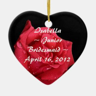 Elegant Red Rose Personalized Junior Bridesmaid Ceramic Heart Decoration