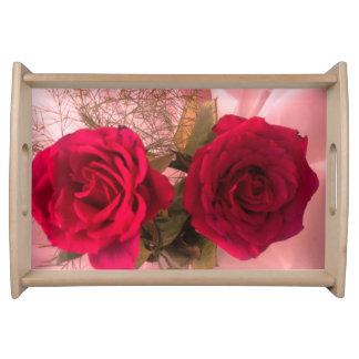 Elegant Red Rose Serving Tray