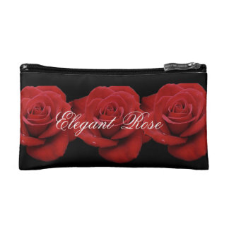 Elegant Red Rose Small Cosmetic Bag