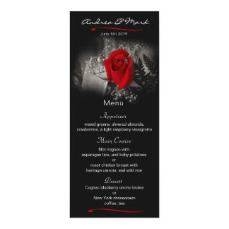 Elegant Red Rose Vignette Wedding Menu Card
