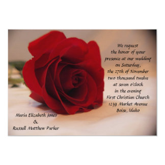 Elegant Red Rose Wedding 13 Cm X 18 Cm Invitation Card