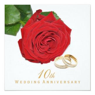 Elegant Red Rose Wedding Anniversary Party 13 Cm X 13 Cm Square Invitation Card