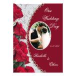 Elegant Red Rose Wedding Photo Invitations