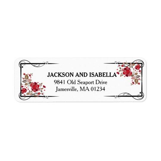 Elegant Red Roses Wedding Return Address Labels
