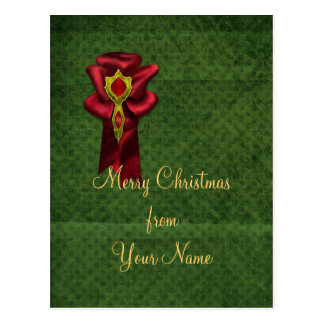 Elegant red satin bow postcard