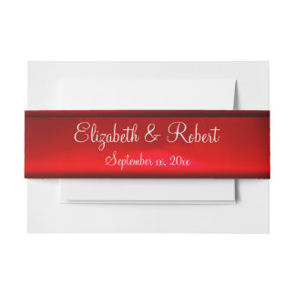 Elegant Red Satin Ribbon Custom Belly Band Invitation Belly Band