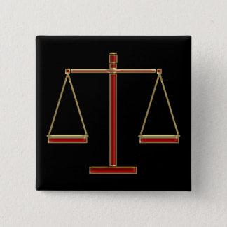 Elegant Red Scales of Justice | Law 15 Cm Square Badge