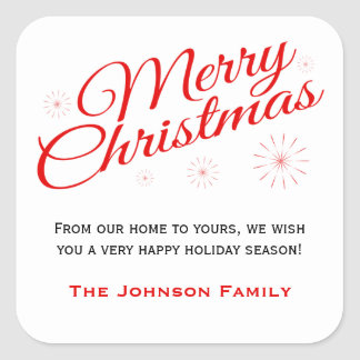 Elegant Red Script Merry Christmas Favor Labels