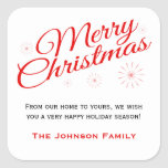 Elegant Red Script Merry Christmas Favour Labels Square Sticker
