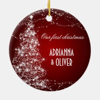 Elegant Red Shimmering Tree Stars First Christmas Round Ceramic Decoration