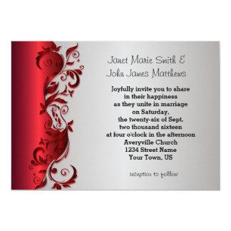 Elegant Red & Silver Florid Wedding Design 13 Cm X 18 Cm Invitation Card