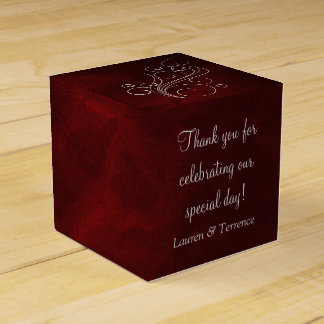 Elegant Red Silver Wedding Party Favour Box