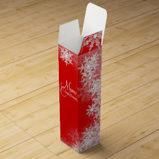 Elegant Red Snowflake Christmas Wine Box