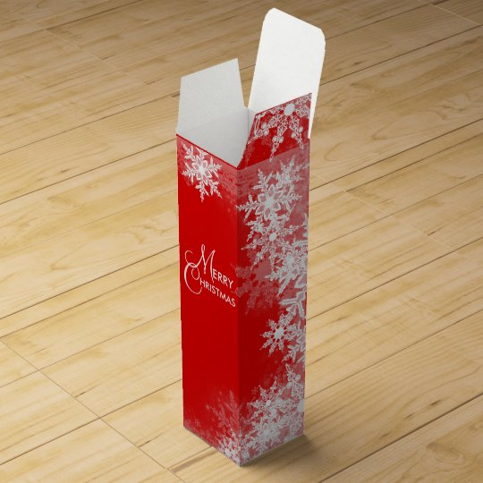 Elegant Red Snowflake Christmas Wine Box