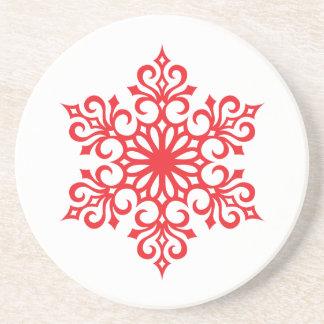 Elegant Red Snowflake Coasters